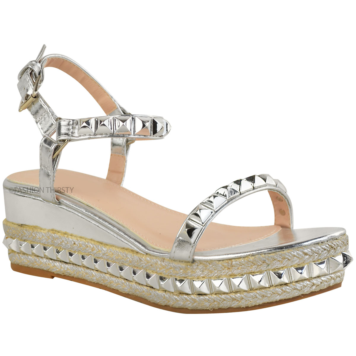 Ladies-Womens-Studded-Low-Wedge-Espadrille-Sandals-Platform-Rose-Gold-Shoes-Size thumbnail 8