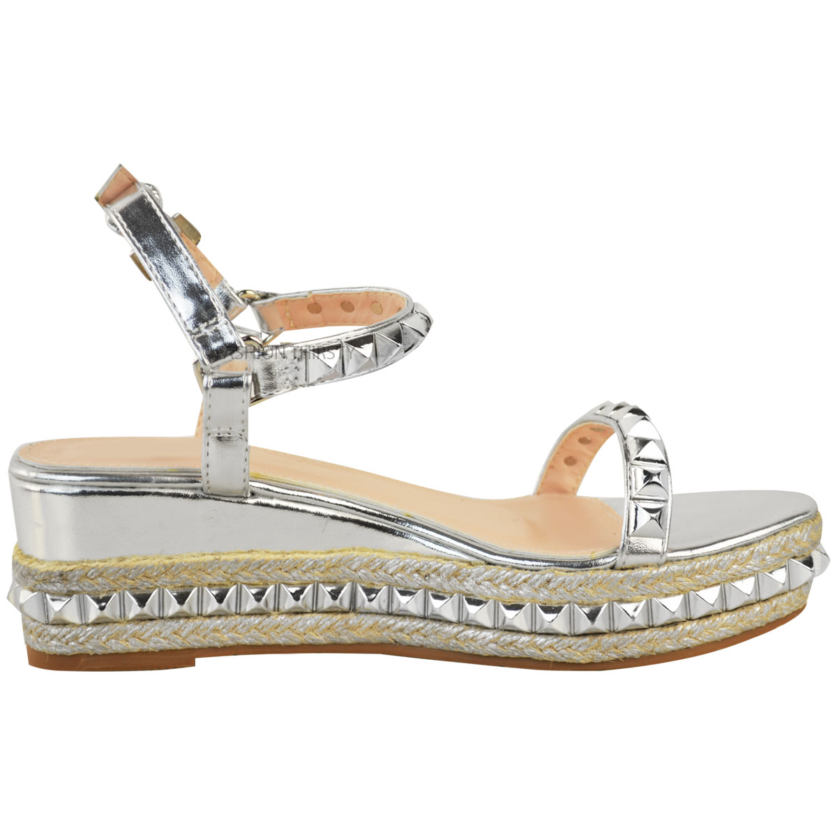 Ladies-Womens-Studded-Low-Wedge-Espadrille-Sandals-Platform-Rose-Gold-Shoes-Size thumbnail 9