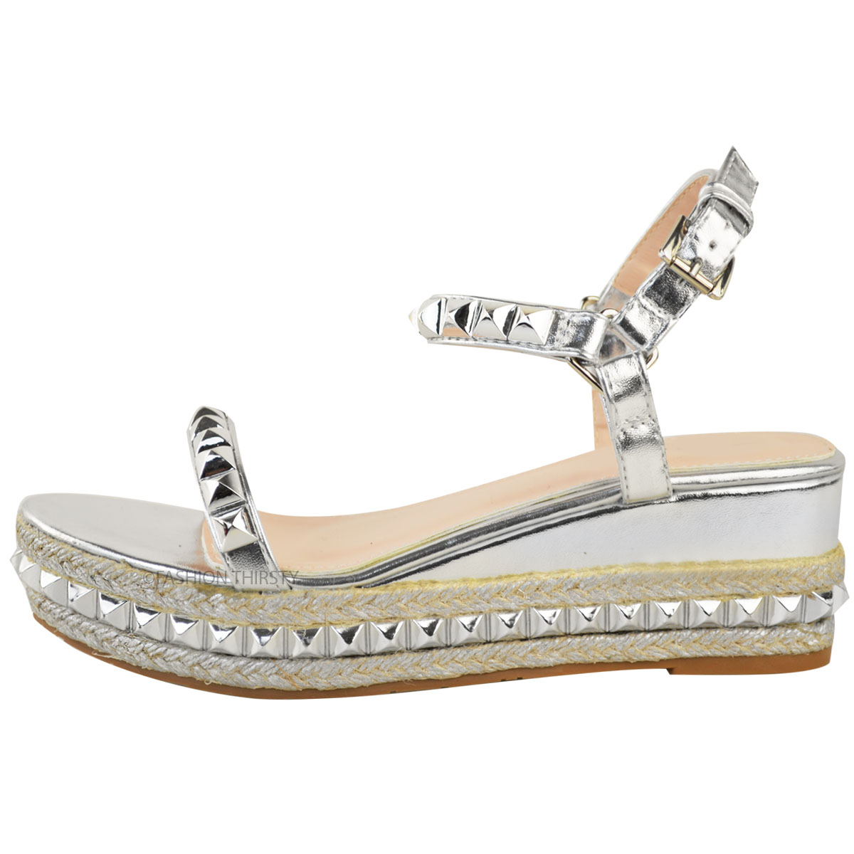 Ladies-Womens-Studded-Low-Wedge-Espadrille-Sandals-Platform-Rose-Gold-Shoes-Size thumbnail 10