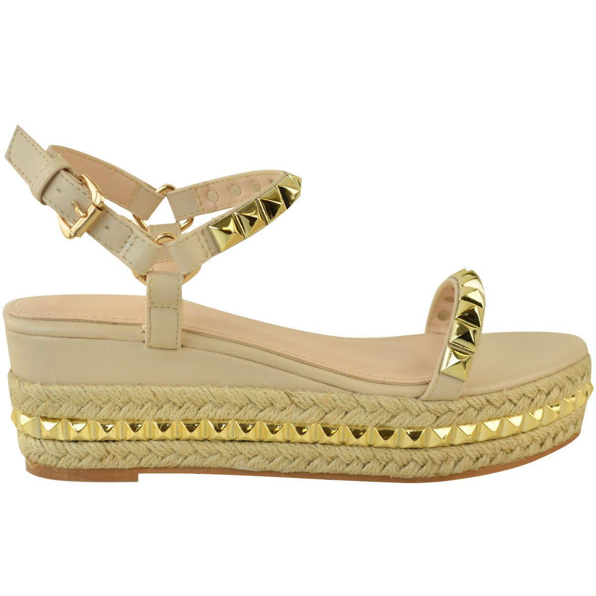 Ladies-Womens-Studded-Low-Wedge-Espadrille-Sandals-Platform-Rose-Gold-Shoes-Size thumbnail 19