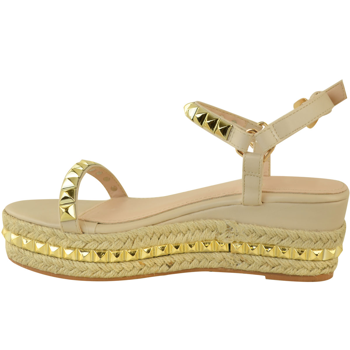 Ladies-Womens-Studded-Low-Wedge-Espadrille-Sandals-Platform-Rose-Gold-Shoes-Size thumbnail 20