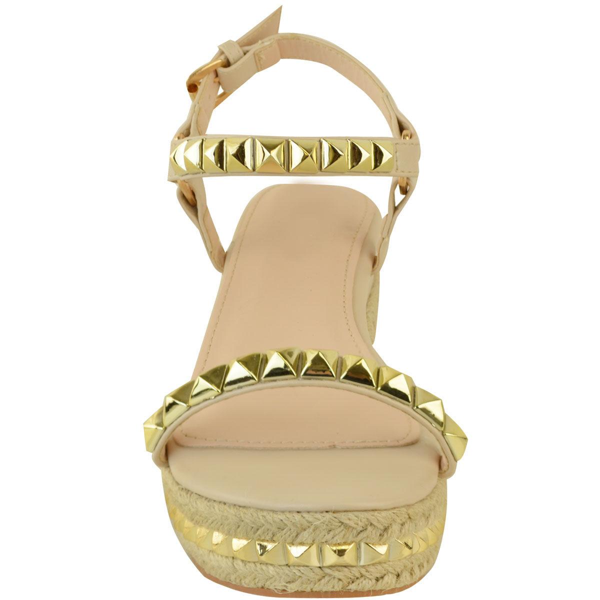 Ladies-Womens-Studded-Low-Wedge-Espadrille-Sandals-Platform-Rose-Gold-Shoes-Size thumbnail 21