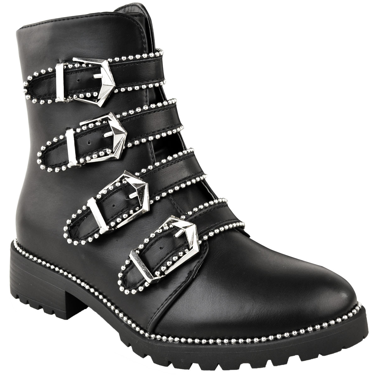 Studded Pit Ankle Heel Faux Buckles Leather New Boots Punk St Flat Silver Low Biker Black Womens YCwfqI
