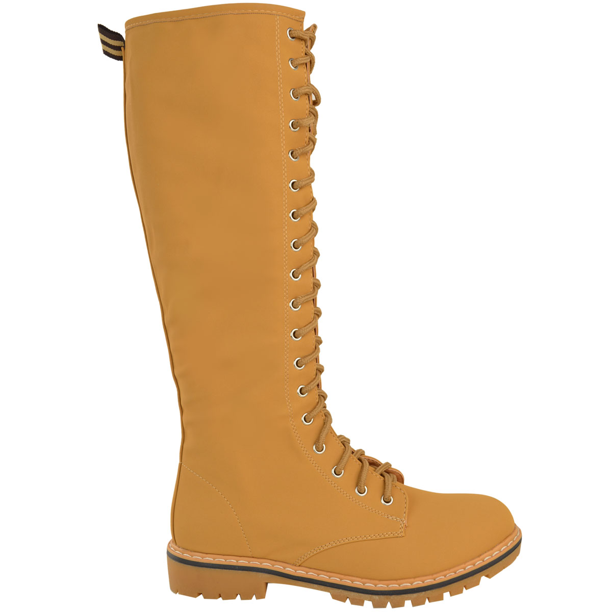 0c6808bdd Details about Womens Ladies Knee High Army Combat Winter Boots Timbs Lace  Up Winter Shoes Size