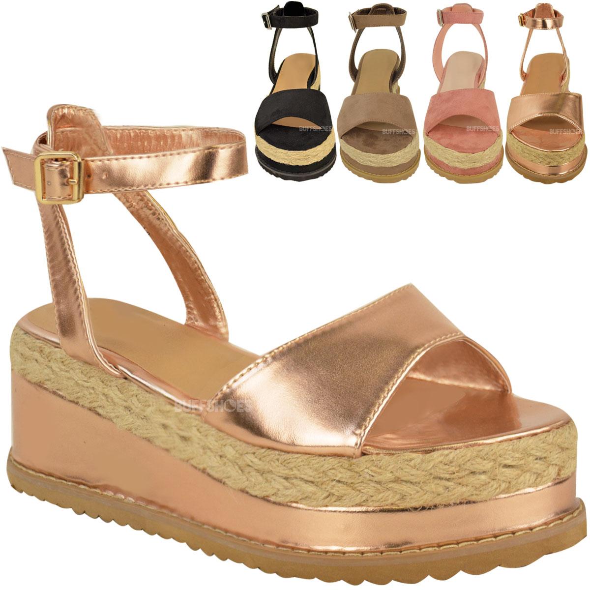 damen espadrille sandalen mit plateusohle kn chelriemen. Black Bedroom Furniture Sets. Home Design Ideas