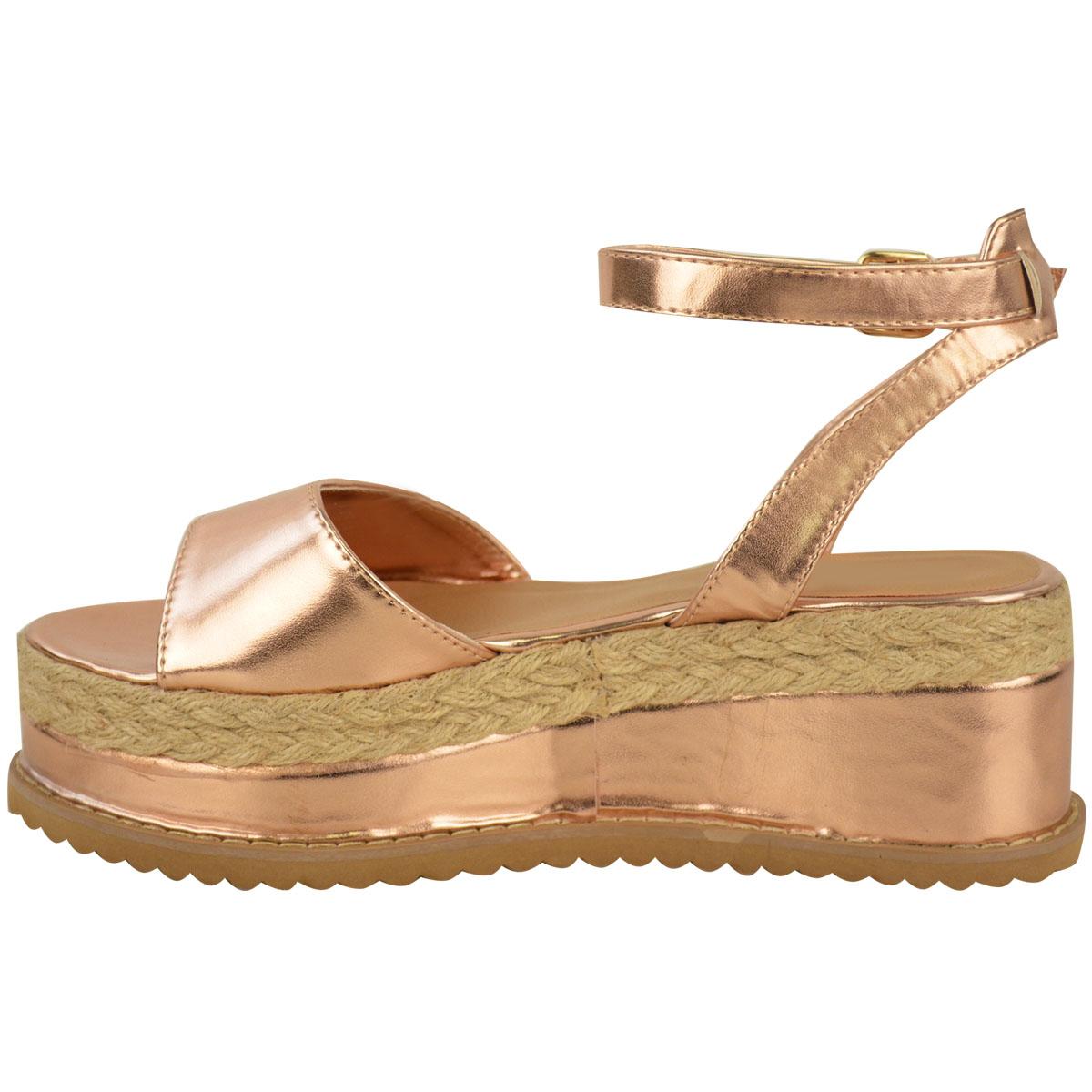 Para mujeres Damas Plano Alpargatas Sandalias Cuña De Corcho acordonadas al Tobillo Zapatos Talla