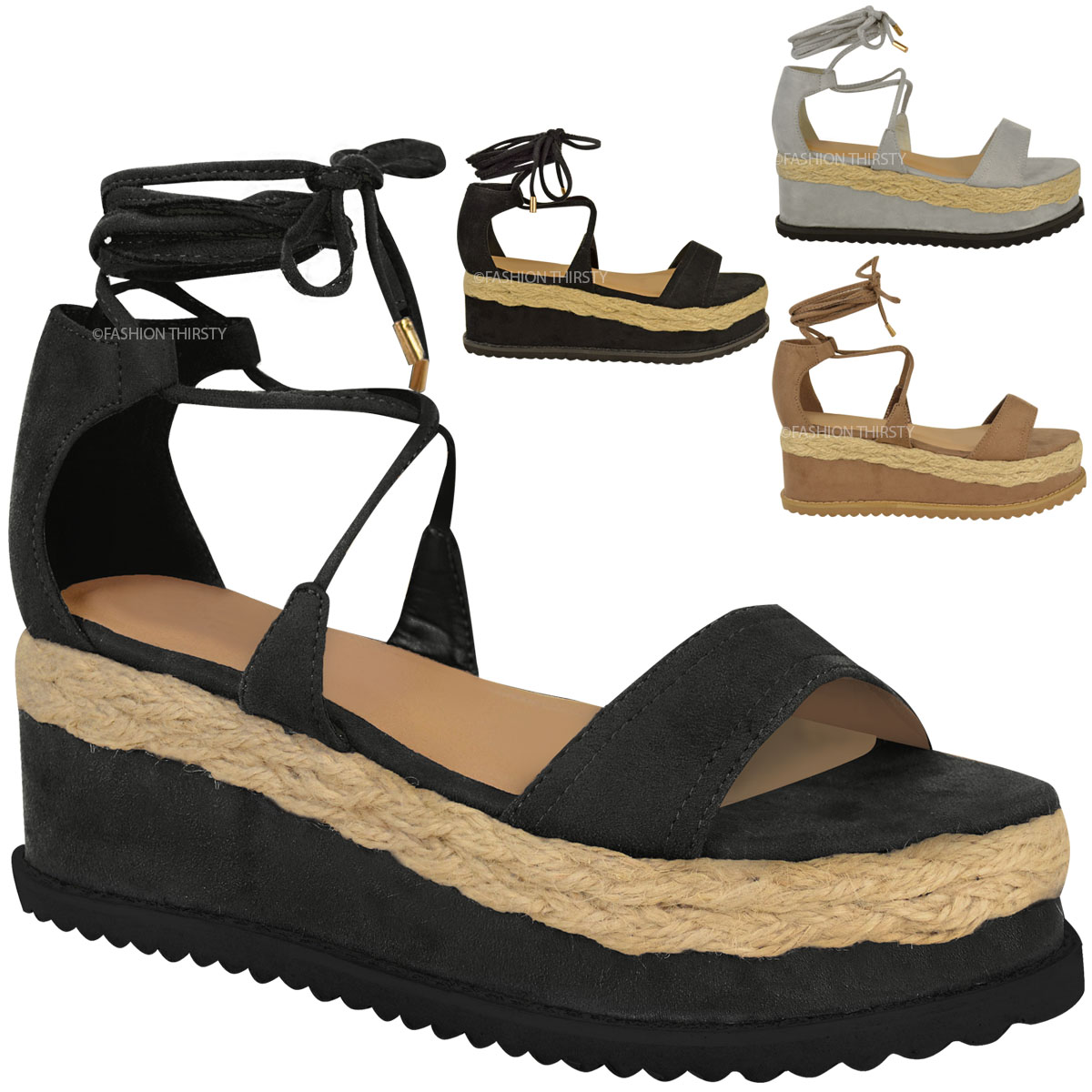 damen espadrille sandalen mit keilabsatz plateausohle schn rung am kn chel ebay. Black Bedroom Furniture Sets. Home Design Ideas