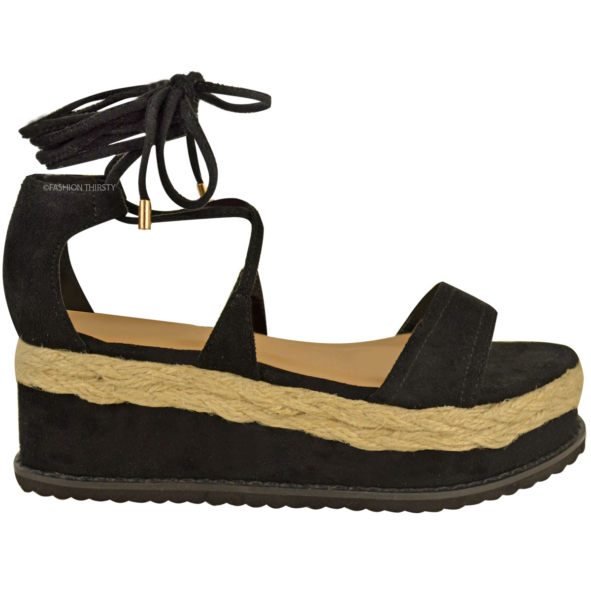womens flat espadrille lace up sandals wedge