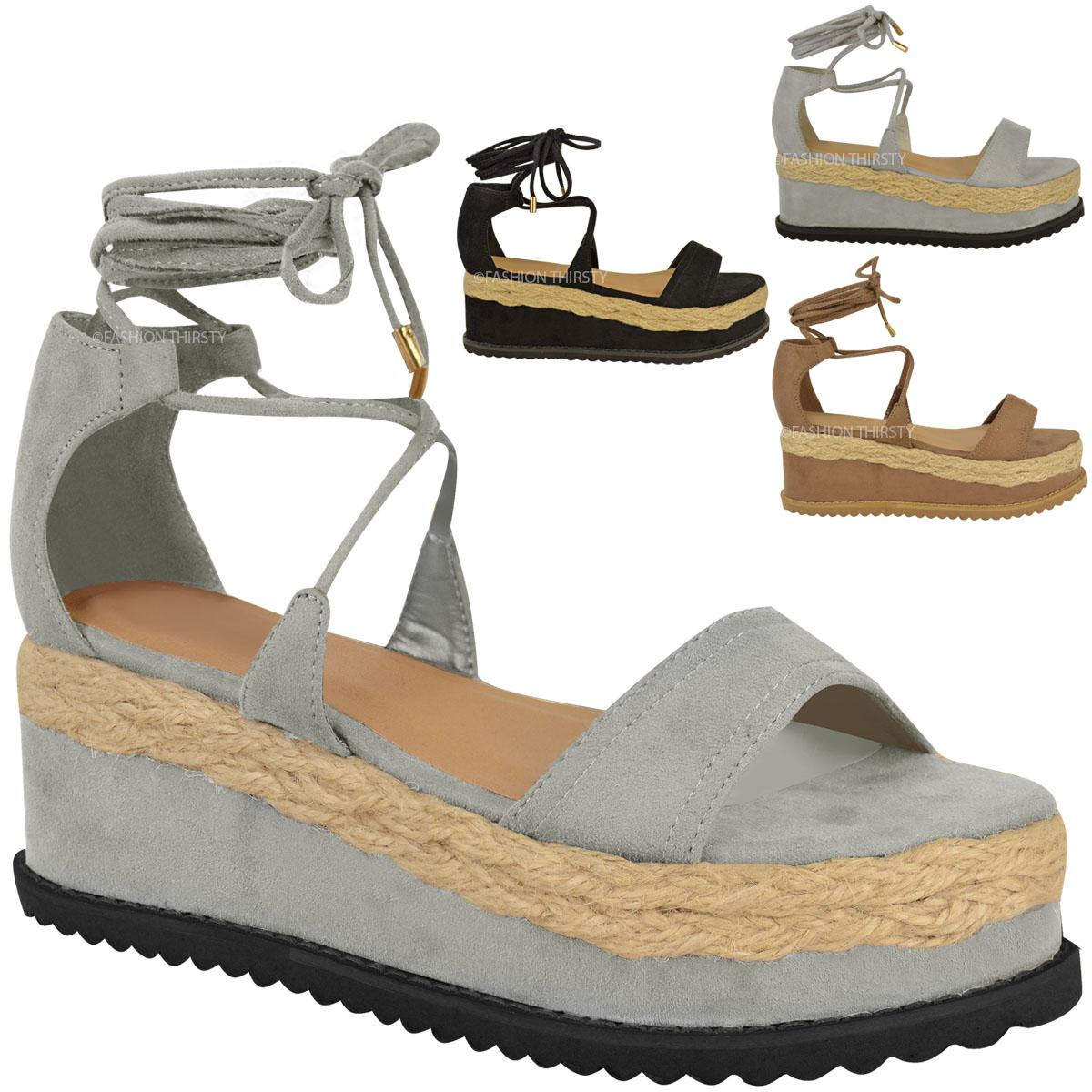 damen espadrille sandalen mit keilabsatz plateausohle. Black Bedroom Furniture Sets. Home Design Ideas