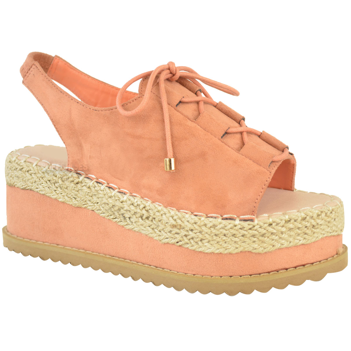 Elegant Details About Womens Ladies Espadrille Flatforms Wedge Sandals Lace Up