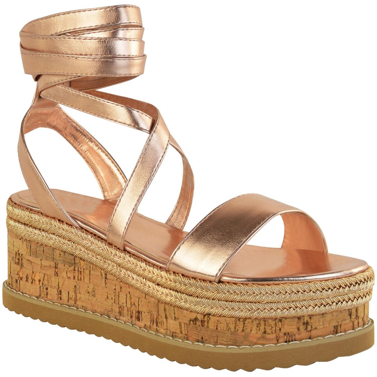 Womens Ladies Flat Wedge Diamante Sandals Lace Tie Up Platform Espadrille Shoes