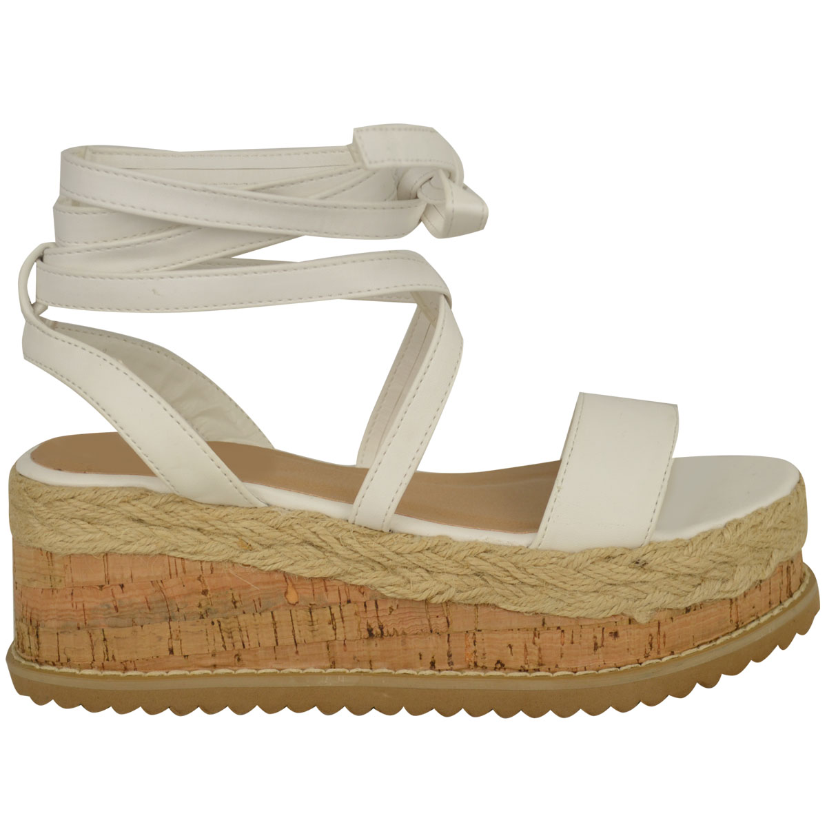 Womens Ladies Flat Wedge Espadrille Lace Tie up Sandals ...