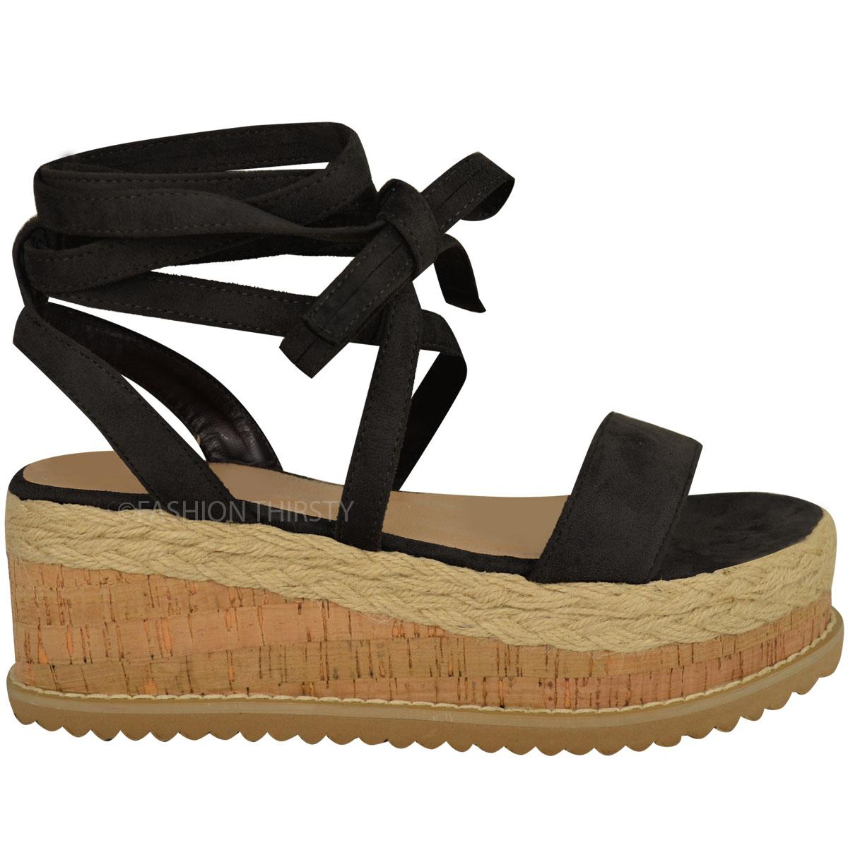 Womens Ladies Flatform Cork Espadrille Wedge Sandals Ankle
