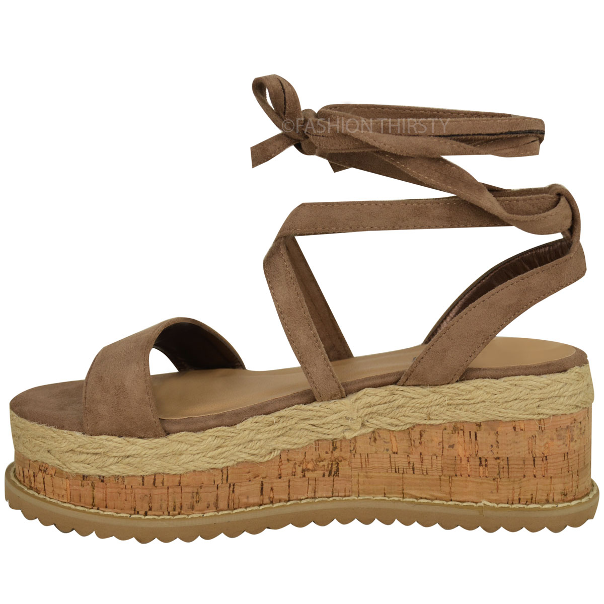 womens flatform cork espadrille wedge sandals ankle