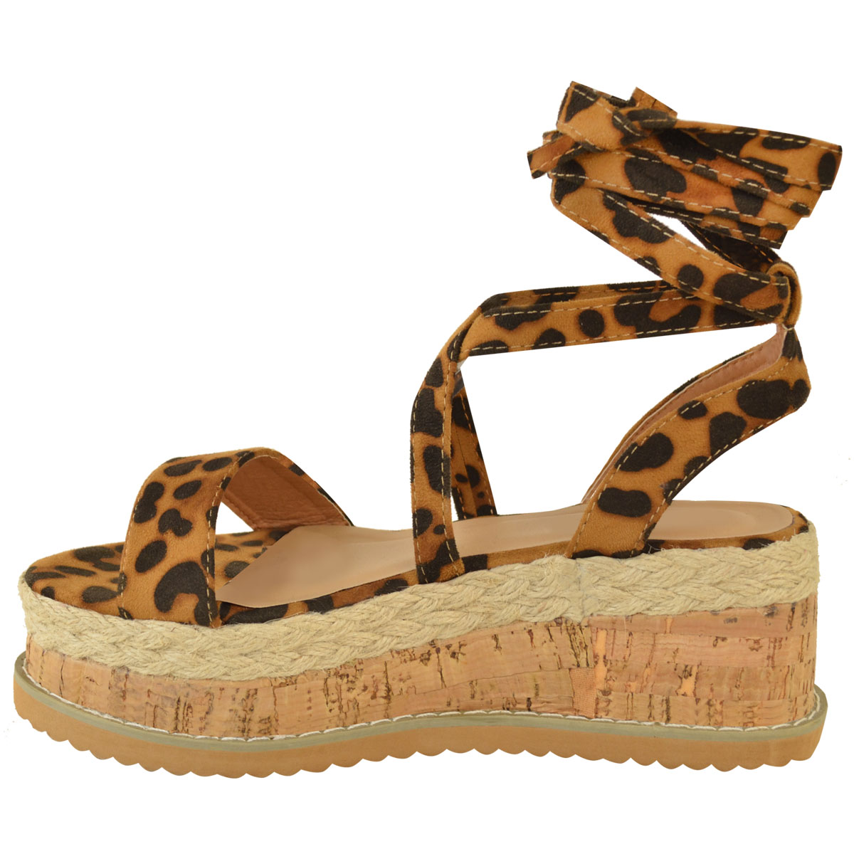 Womens-Ladies-Flatform-Cork-Espadrille-Wedge-Sandals-Ankle-Lace-Up-Shoes-Size