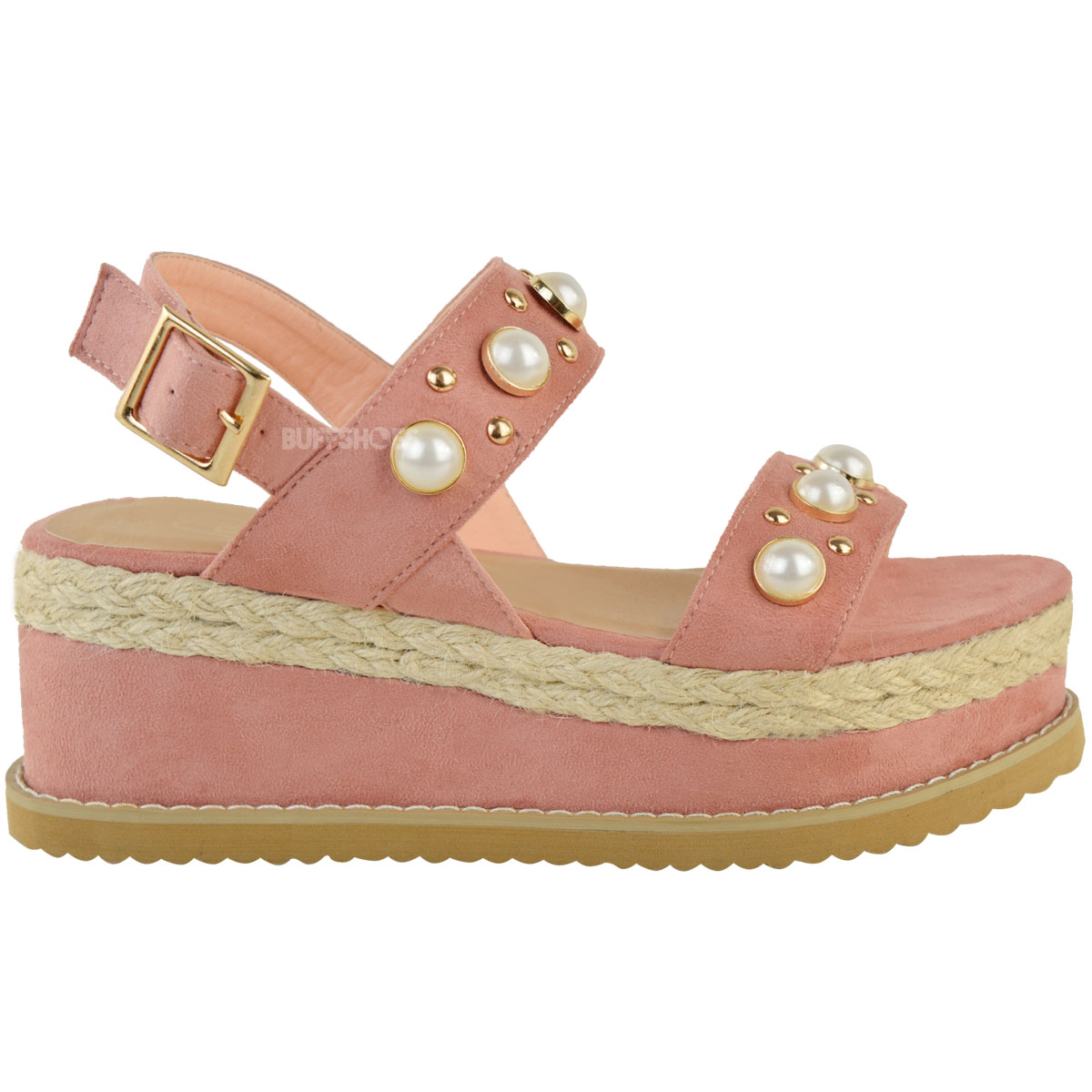 Womens Ladies Espadrille Flatforms Pearl Wedge Summer ...