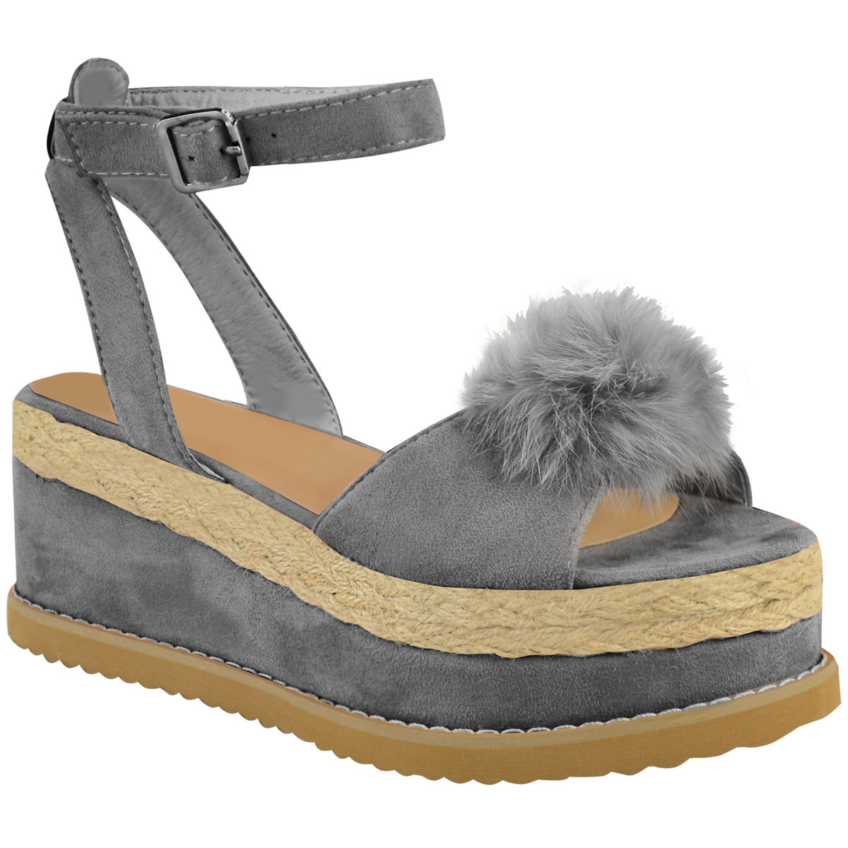 sandales compens es style espadrilles pompon bout ouvert femme ebay. Black Bedroom Furniture Sets. Home Design Ideas