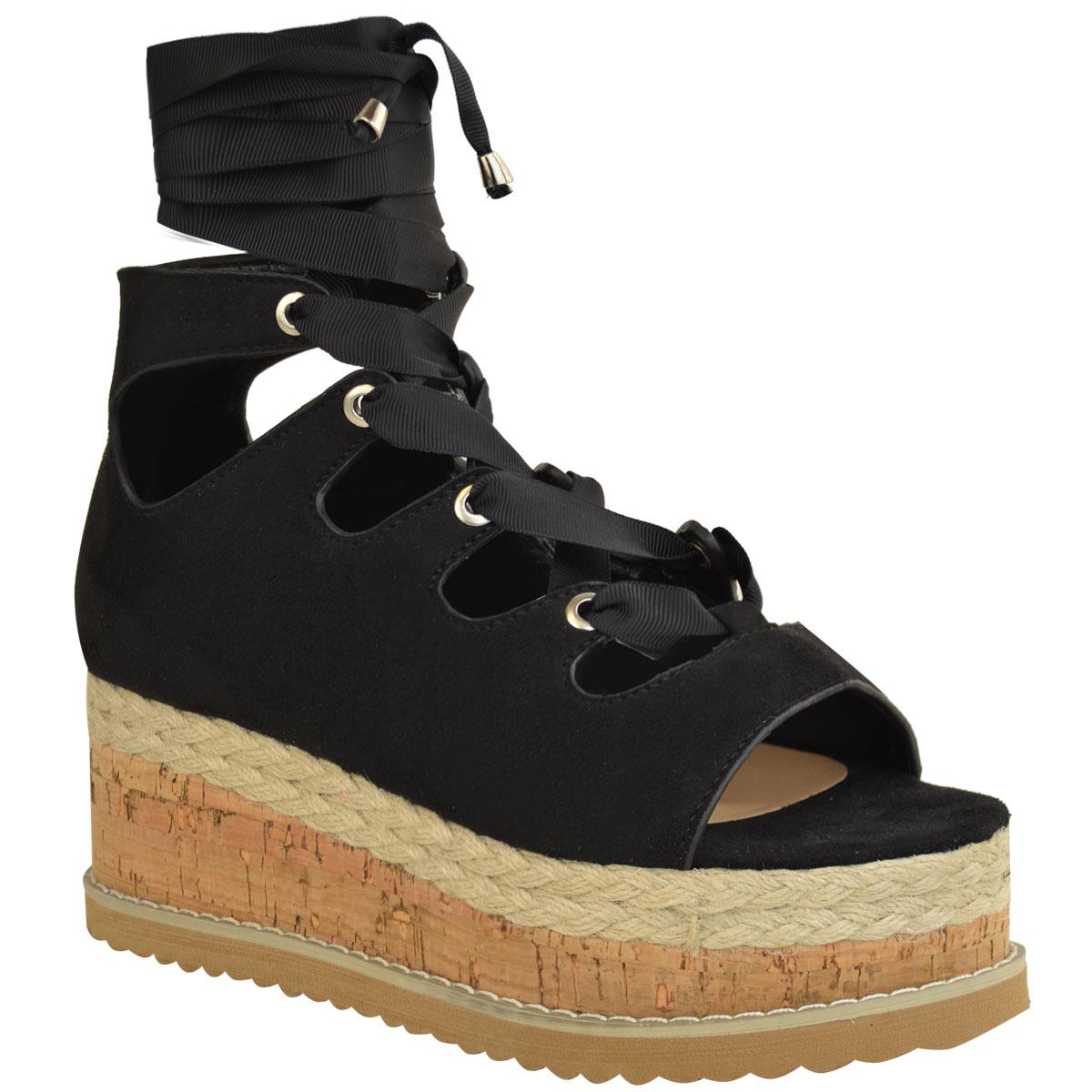 Womens-Ladies-Wedge-Flat-Espadrille-Lace-Tie-Up-Sandals-Platform-Summer-Shoes