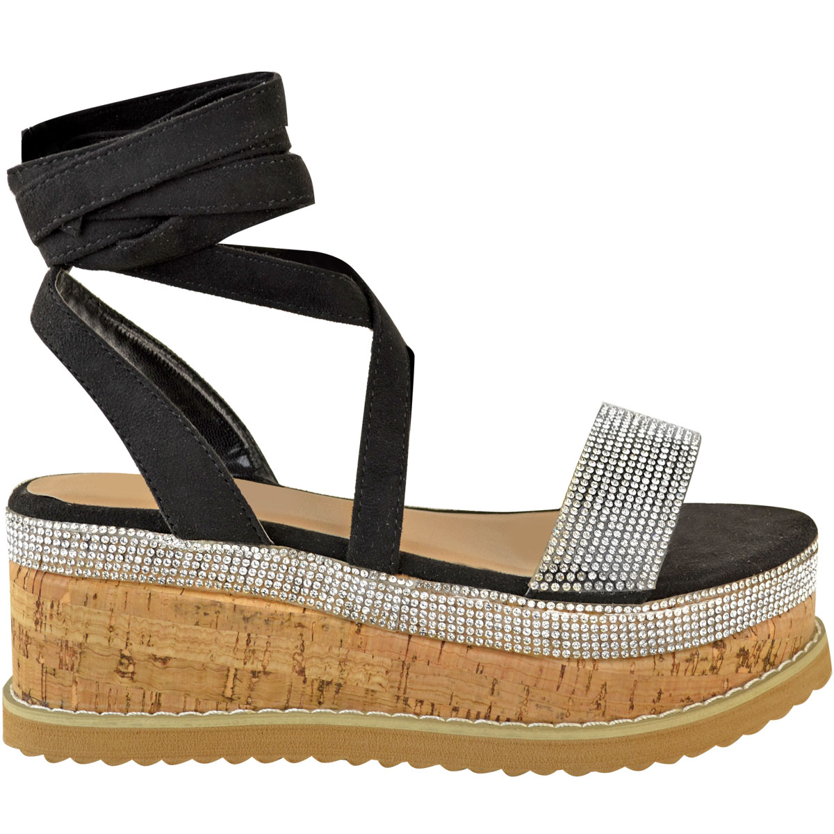 Womens-Ladies-Flatform-Diamante-Wedge-Sandals-Platform-Ankle-Lace-Up-Summer-Size thumbnail 4