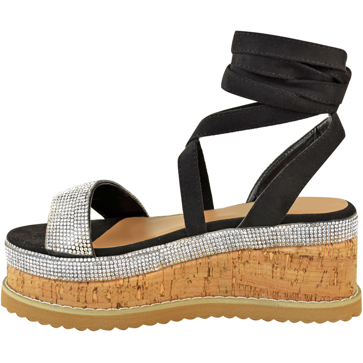 Womens-Ladies-Flatform-Diamante-Wedge-Sandals-Platform-Ankle-Lace-Up-Summer-Size thumbnail 5