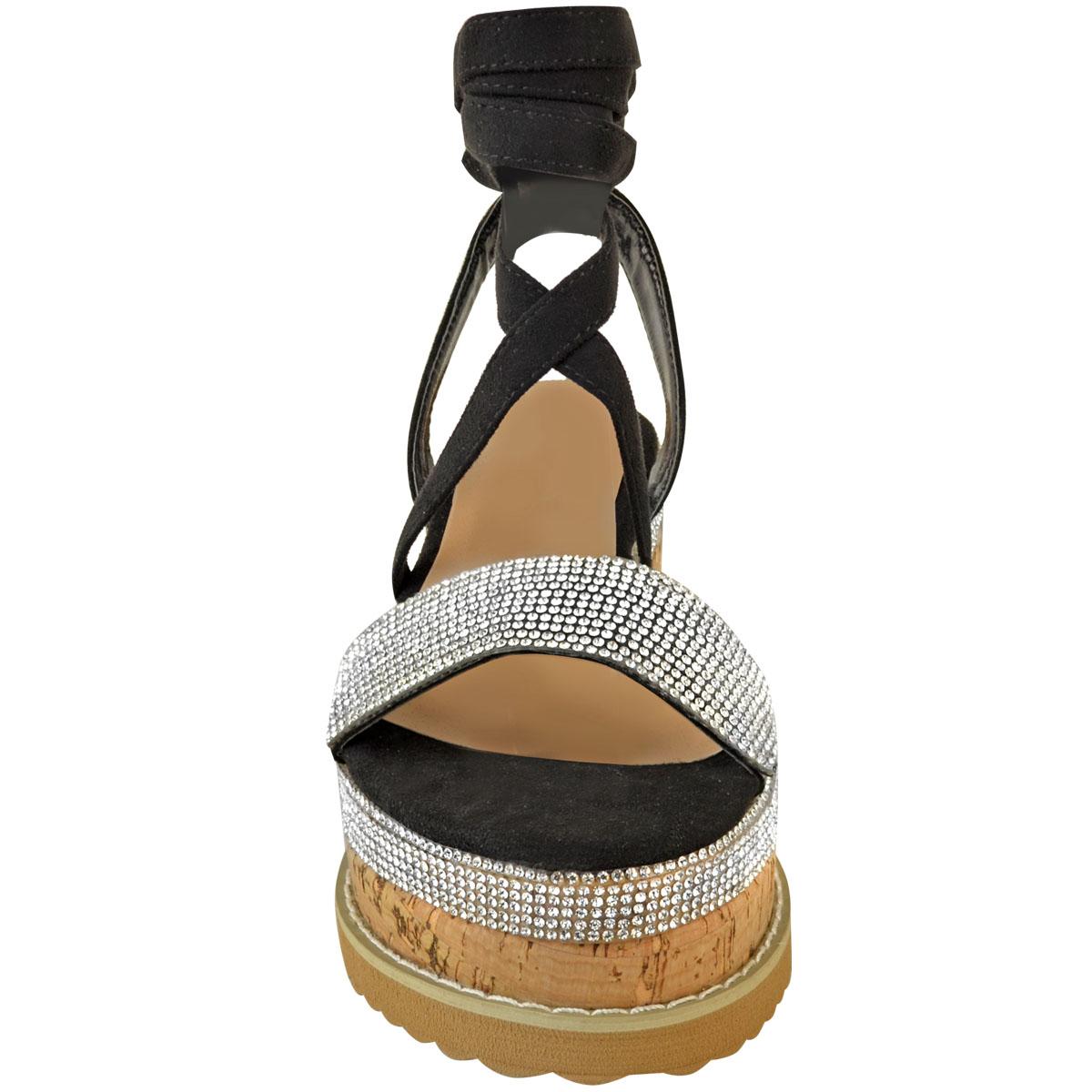 Womens-Ladies-Flatform-Diamante-Wedge-Sandals-Platform-Ankle-Lace-Up-Summer-Size thumbnail 6