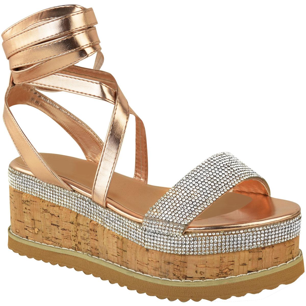 Womens-Ladies-Flatform-Diamante-Wedge-Sandals-Platform-Ankle-Lace-Up-Summer-Size thumbnail 8