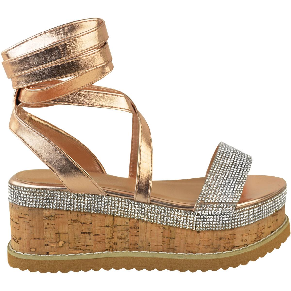 Womens-Ladies-Flatform-Diamante-Wedge-Sandals-Platform-Ankle-Lace-Up-Summer-Size thumbnail 9