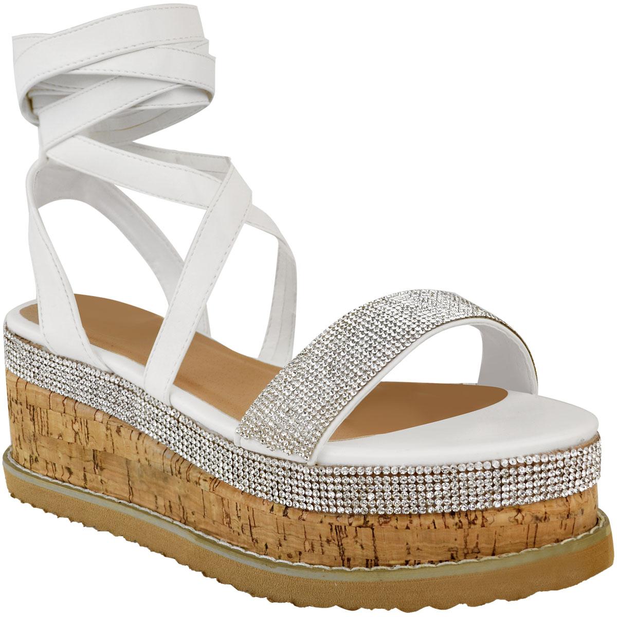 Womens-Ladies-Flatform-Diamante-Wedge-Sandals-Platform-Ankle-Lace-Up-Summer-Size thumbnail 13
