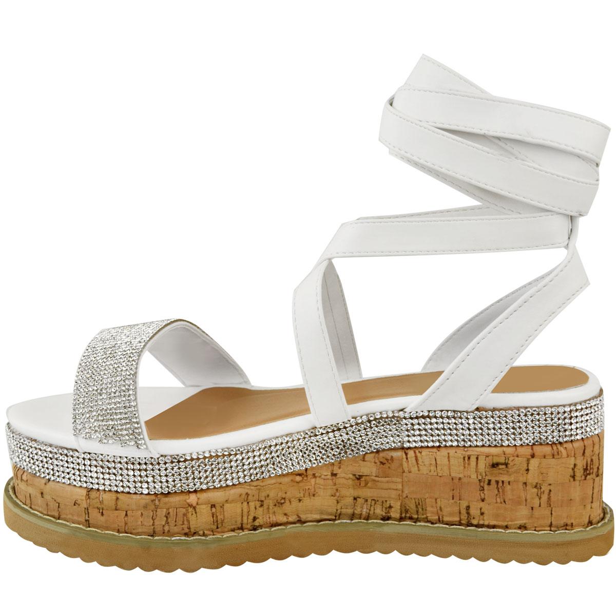 Womens-Ladies-Flatform-Diamante-Wedge-Sandals-Platform-Ankle-Lace-Up-Summer-Size thumbnail 15