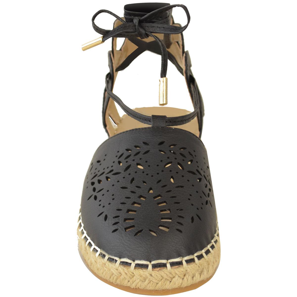 Sandalias Planas Con Cordones Alpargata señoras para mujer Tobillo con Tiras Verano Zapatos Talla