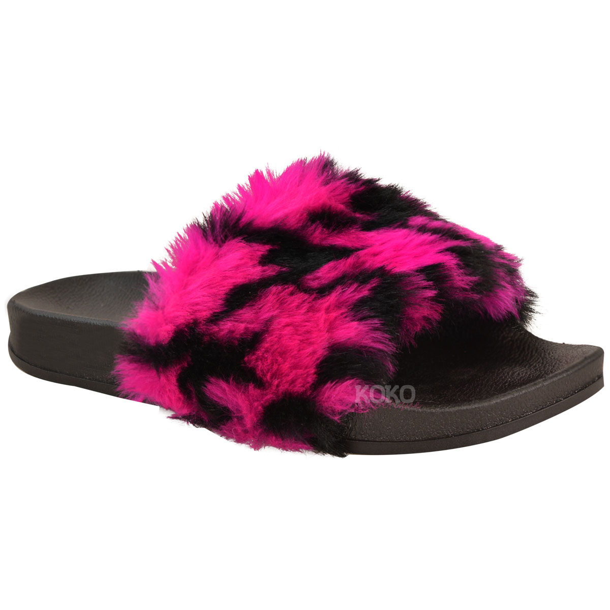 Womens Ladies Slip On Sliders Multi Colour Flats Faux Fur Slippers Sandals Size | eBay