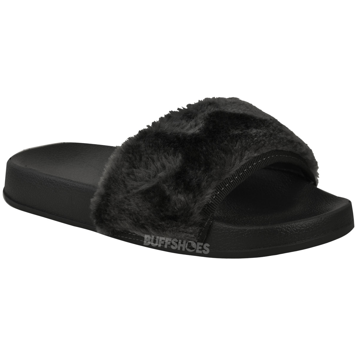 Womens Slip On Mules Fur Slipper Sandals Shoes