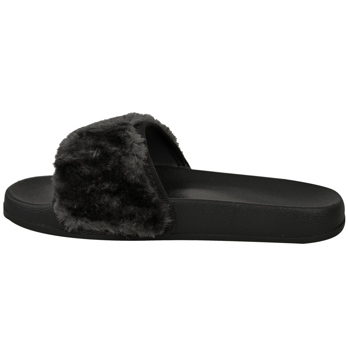 Faux Fur Fluffy Sliders Flat Celebrity Black Designer ...