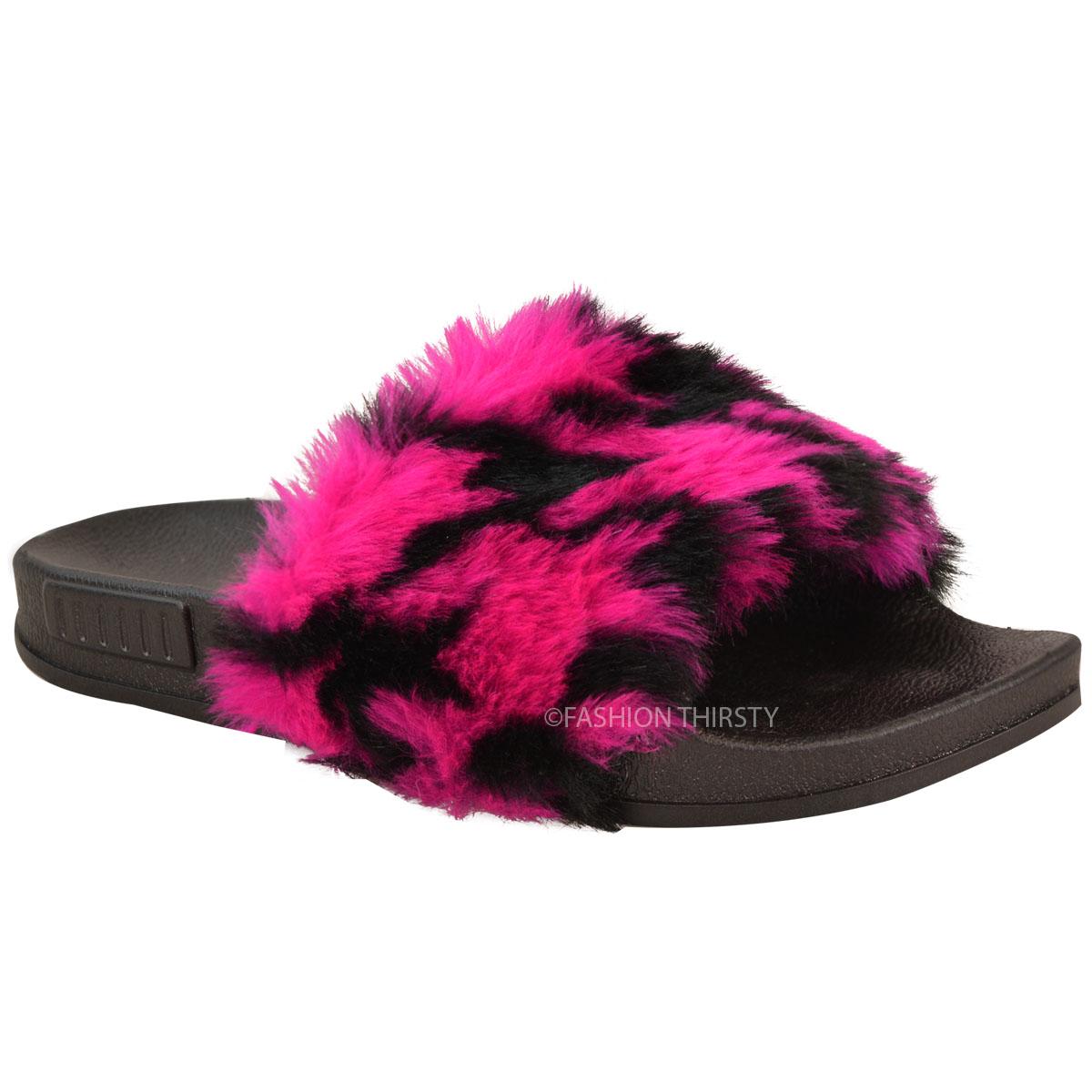 Faux Fur Fluffy Sliders Flat Celebrity Black Designer