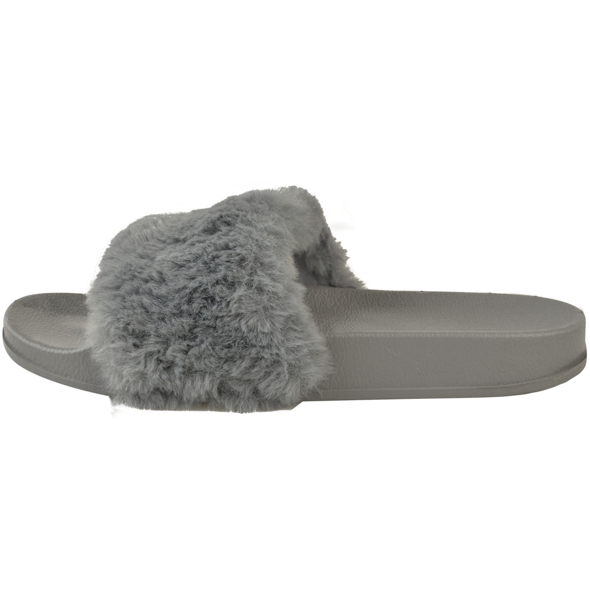 Womens Comfy Faux Fur Trim Rubber Slider Flats Shoes