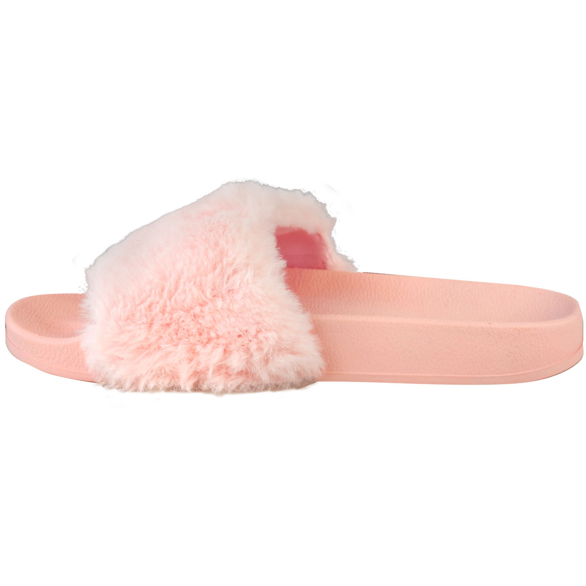 Womens Ladies Flat Farrah Rubber Sliders Mules Faux Fur Slippers Sandals Size UK | eBay