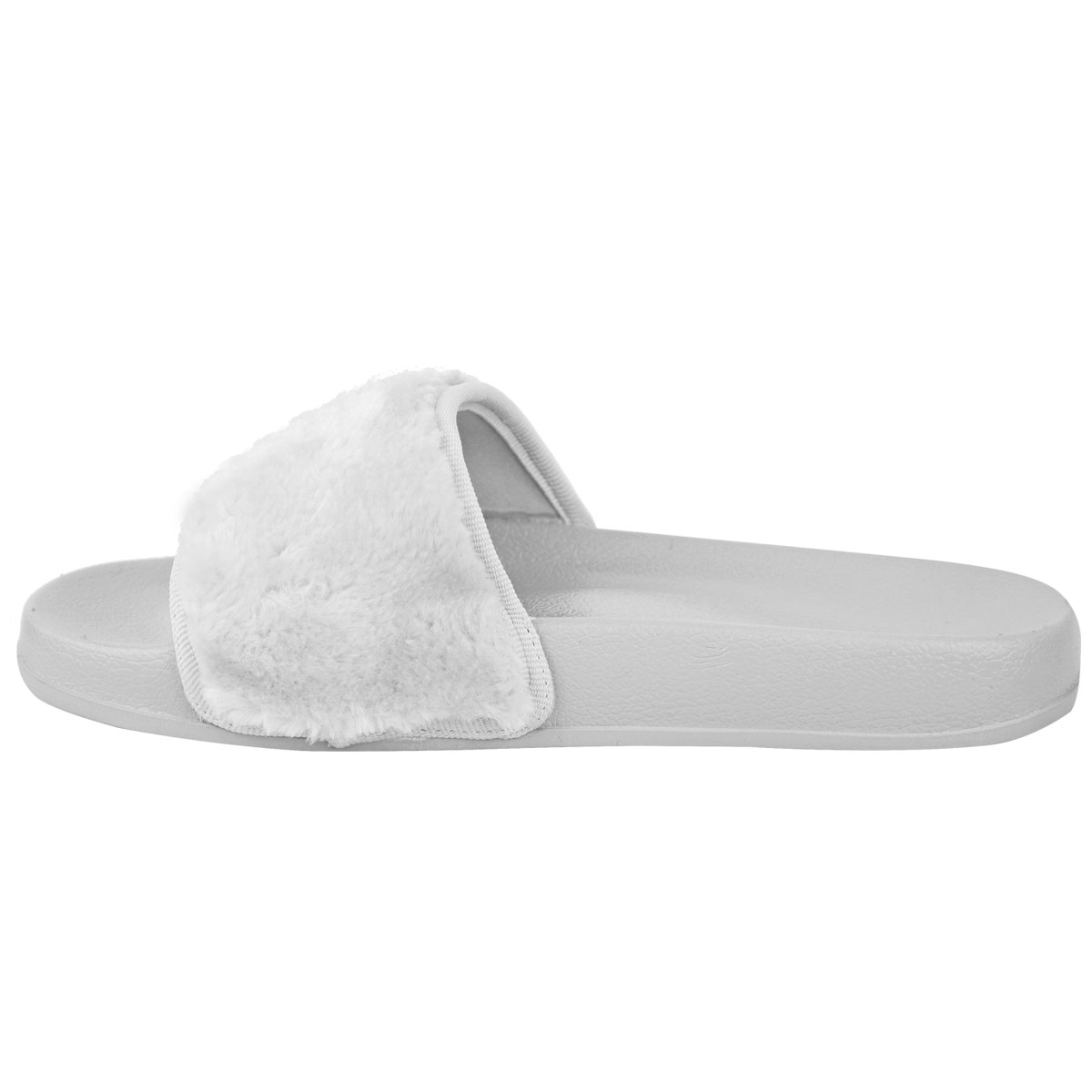 db3e94c4704ac2 Womens Ladies Flat Comfy Faux Fur Trim Rubber Sliders Flip Flops ...
