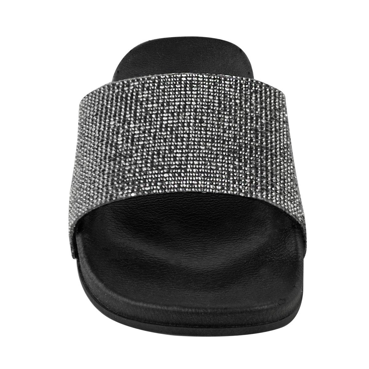Womens Ladies Slip On Sliders Flat Diamante Sandals Rubber Mule Comfy Shoes Size