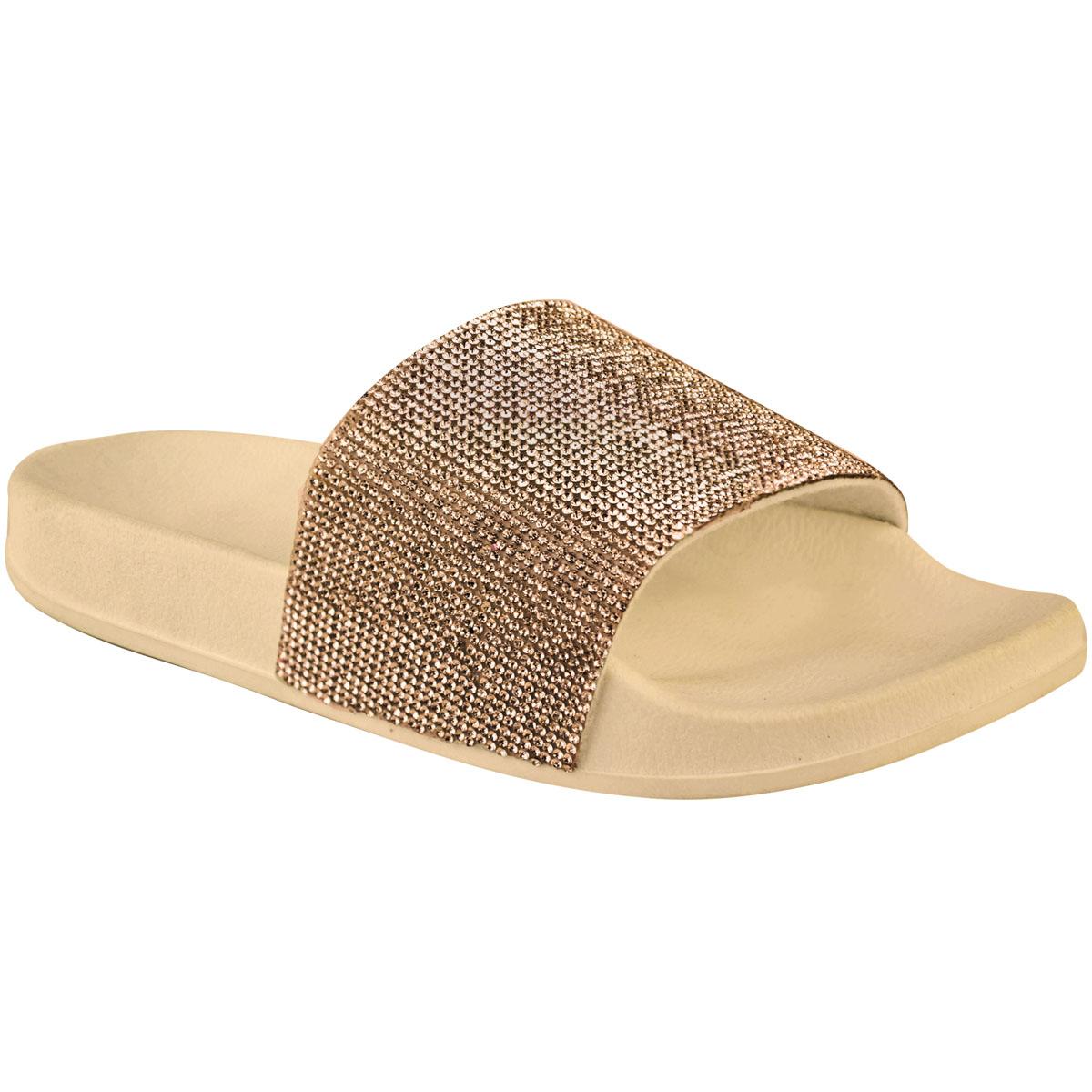 Femme Slip on curseurs femme plates avec strass Bling Sandales Chaussures