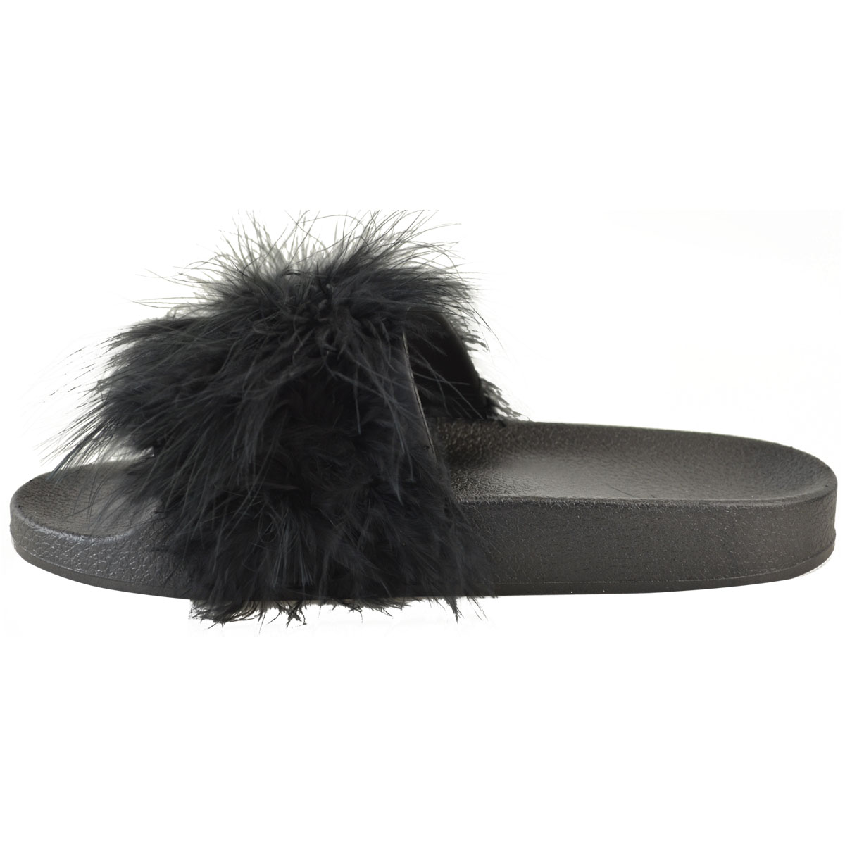 b542a97d45a4 Womens Fluffy Feather Faux Fur Sliders Slides Casual Slip Mules ...