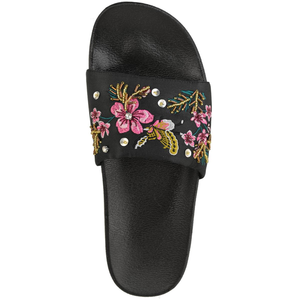 5fd17f4d Detalles de Para mujeres Damas Sandalias Planas Verano Deslizadores Bordado  Floral cómoda resbalón en tamaño- ver título original