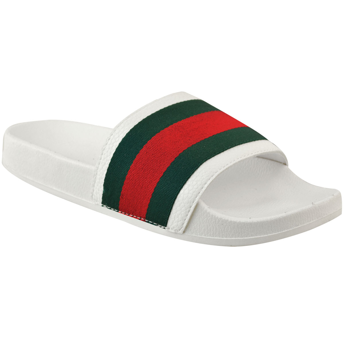 Womens-Ladies-Flat-Striped-Sliders-Summer-Sandals-Slides-Mules-Slippers-Size thumbnail 9