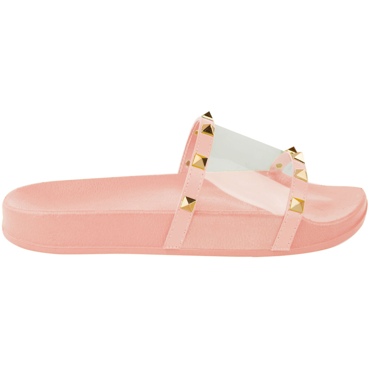 Details about Womens Ladies Flat Studded Perspex Clear Sliders Summers Sandals Flip Flops Size