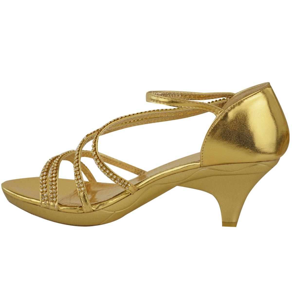 New Womens Ladies Girls Low Heel Bridal Wedding Sandal ...
