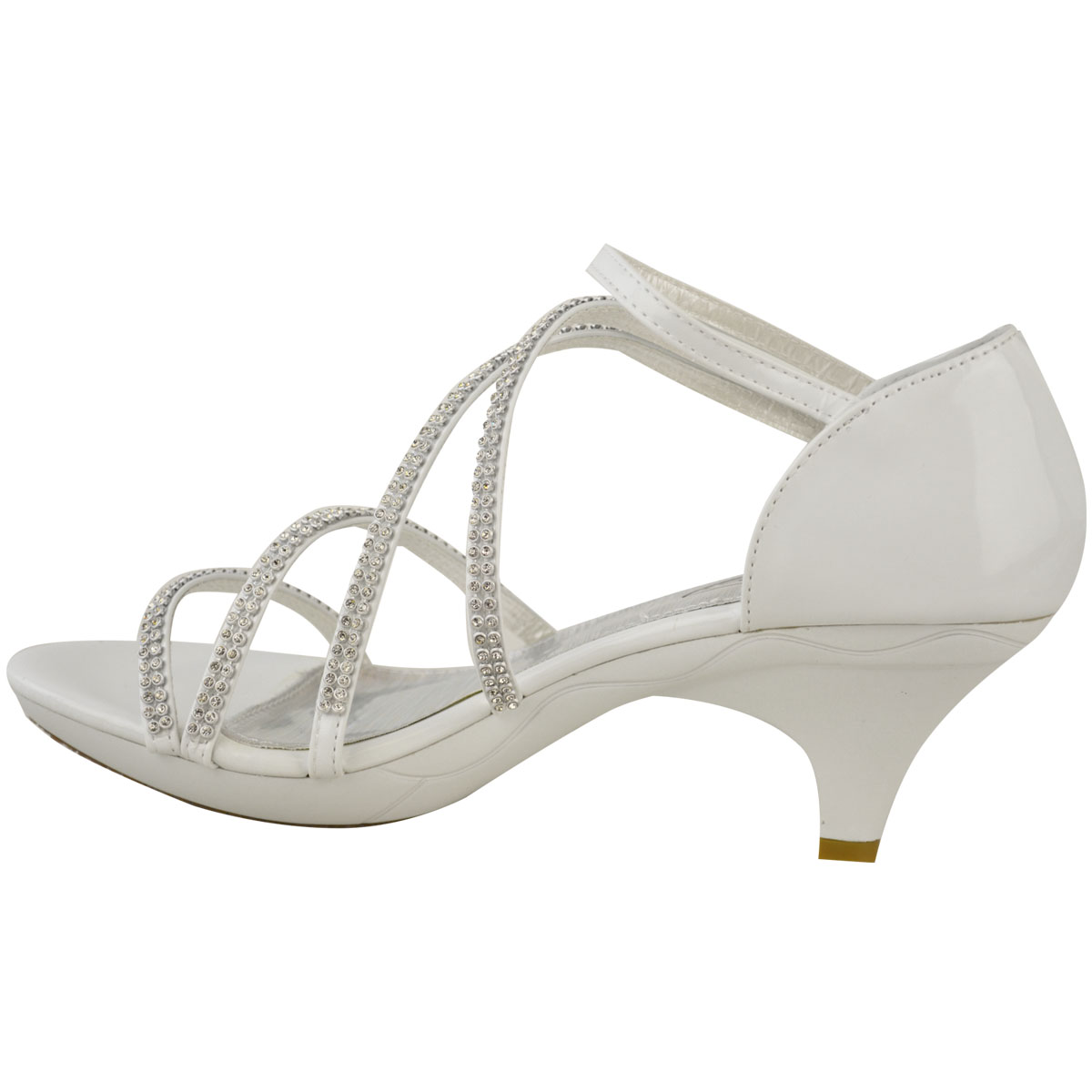 New Womens Ladies Girls Low Heel Bridal Wedding Sandal ...
