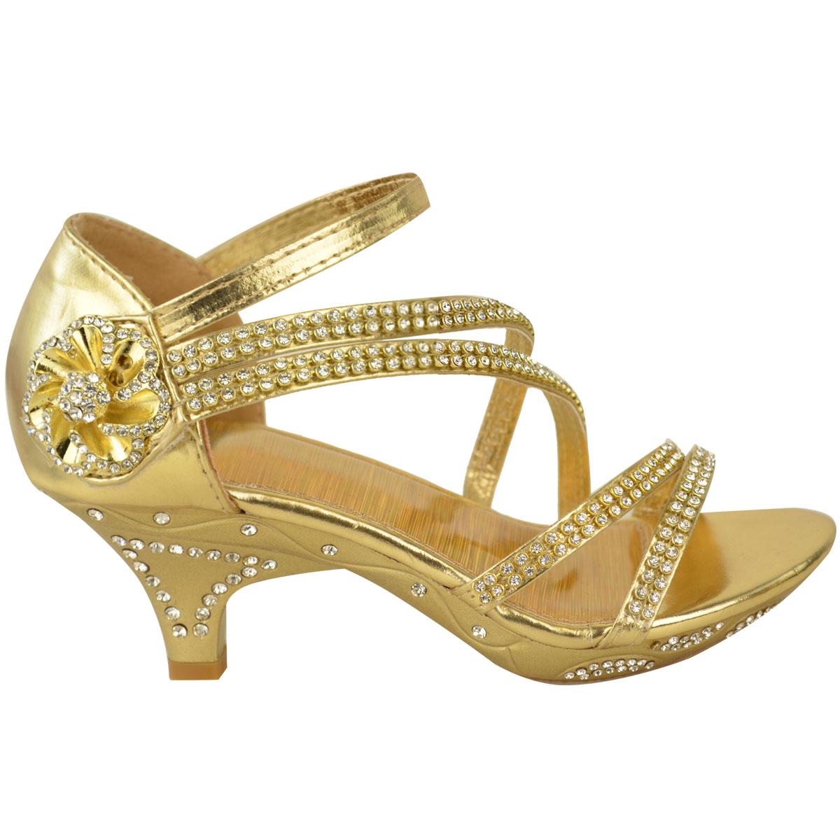 Brilliant New Womens Ladies Girls Low Heel Bridal Wedding Sandal Kids Diamante Shoes Size | EBay