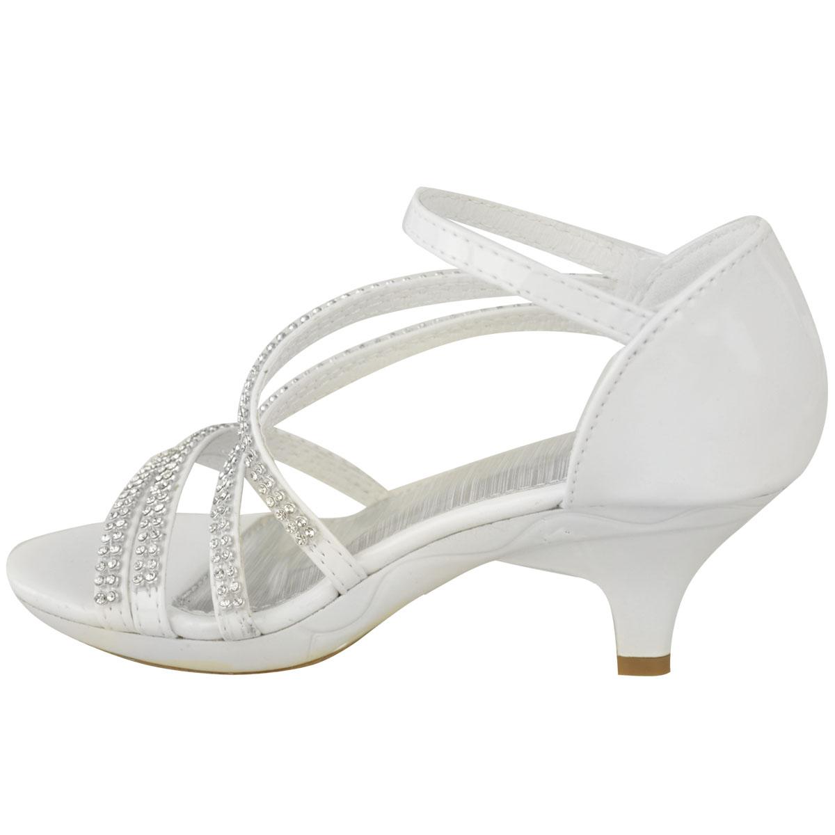 New Womens Ladies Girls Low Heel Bridal Wedding Sandal
