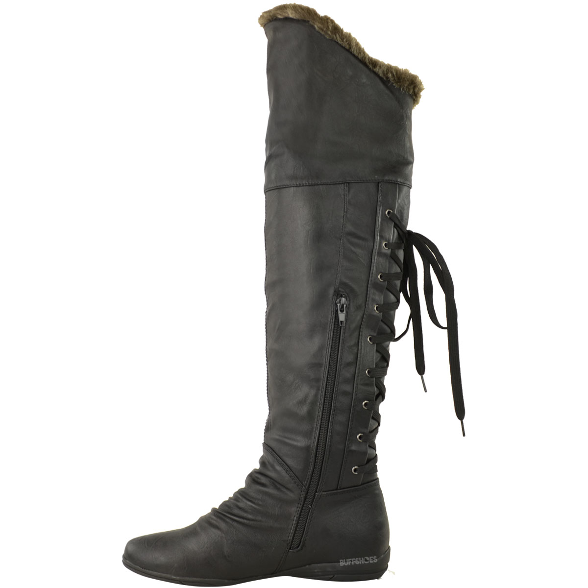 NEW WOMENS LADIES FLAT OVER THE KNEE THIGH BOOTS LACE UP WINTER ...