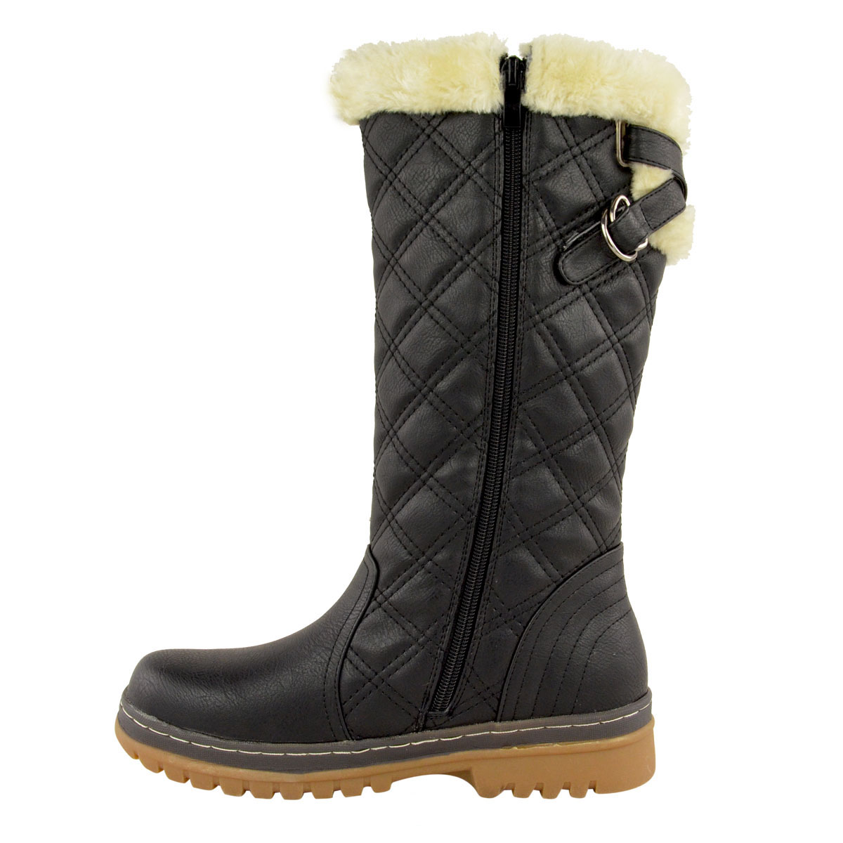 Womens Winter Flat Grip Sole Ankle Boots Faux Fur Hiker Calf Knee High Size