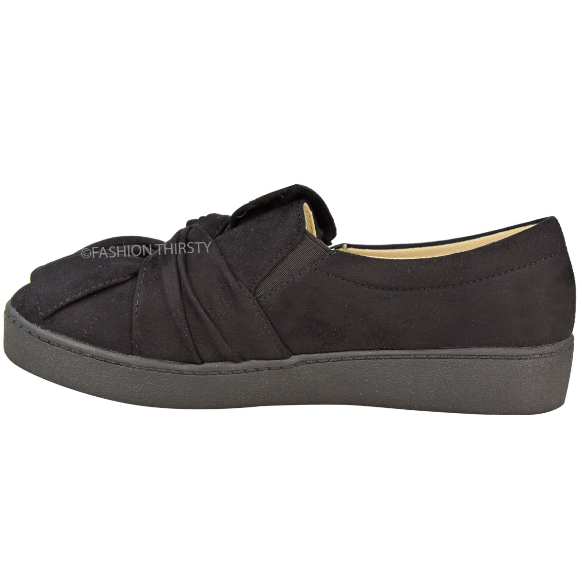 Womens-Ladies-Skater-Trainers-Slip-On-Thick-Sole-Plimsolls-Shoes-Pumps-Size-New